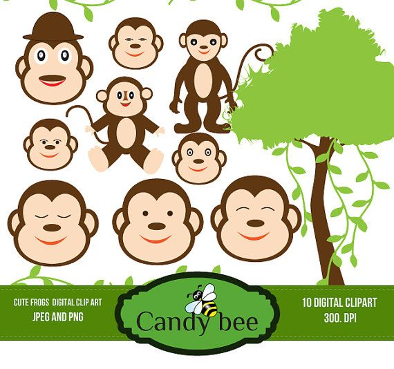 Monkey Digital Clipart / Cute Little Monkey Digital Clip art For Personal And Comercial use