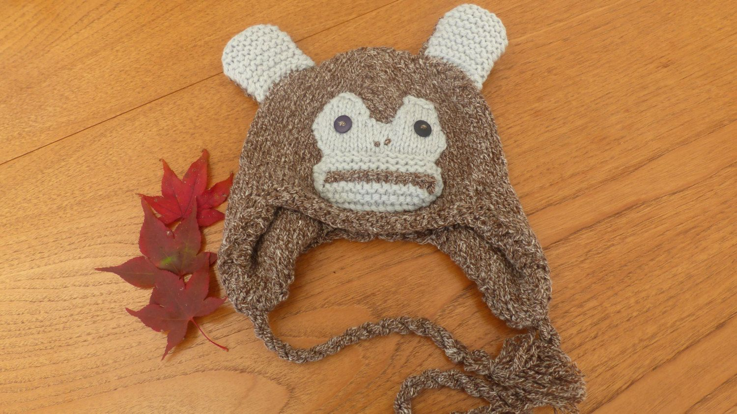 Little Monkey Hat, hand knit, Child by MakerMouse on Etsy
