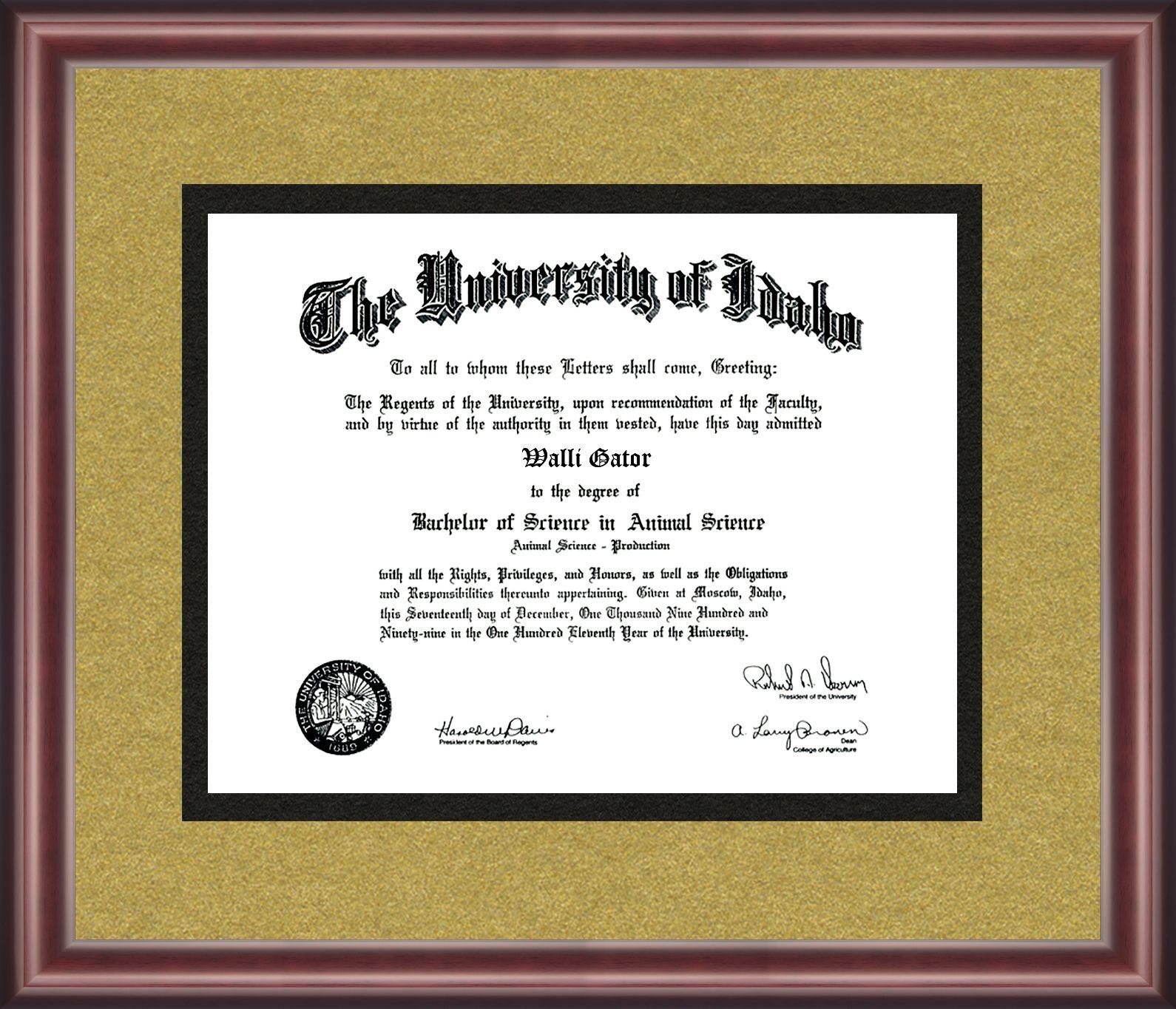 University of Idaho Diploma Frame | Pinterest | Idaho