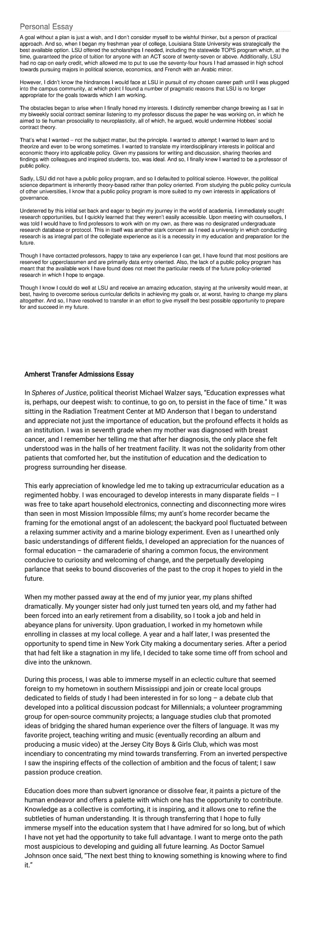 Help writing transfer essay