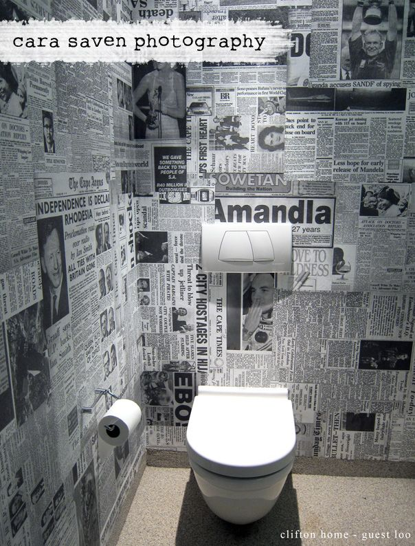 Toilet wallpaper made out of old newspaper clippings