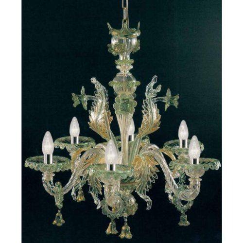Pegaso Murano glass chandelier hand made classic green go…