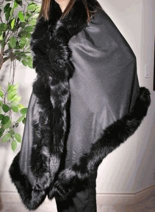 CASHMERE BOUTIQUE: Cashmere Wrap with Fox Fur Trim Buy Now $279.0 Find at Faearch