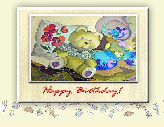 Beautiful Bear Happy Birthday Print Batik Painting by SilkFantazi