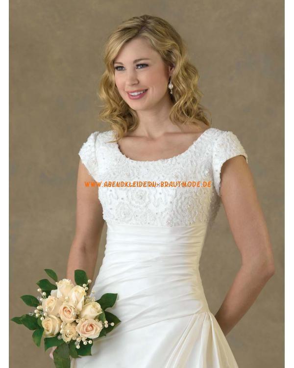 Klassische Maßgeschneiderte Brautkleider aus Satin mit Ärmel mit Schleppe