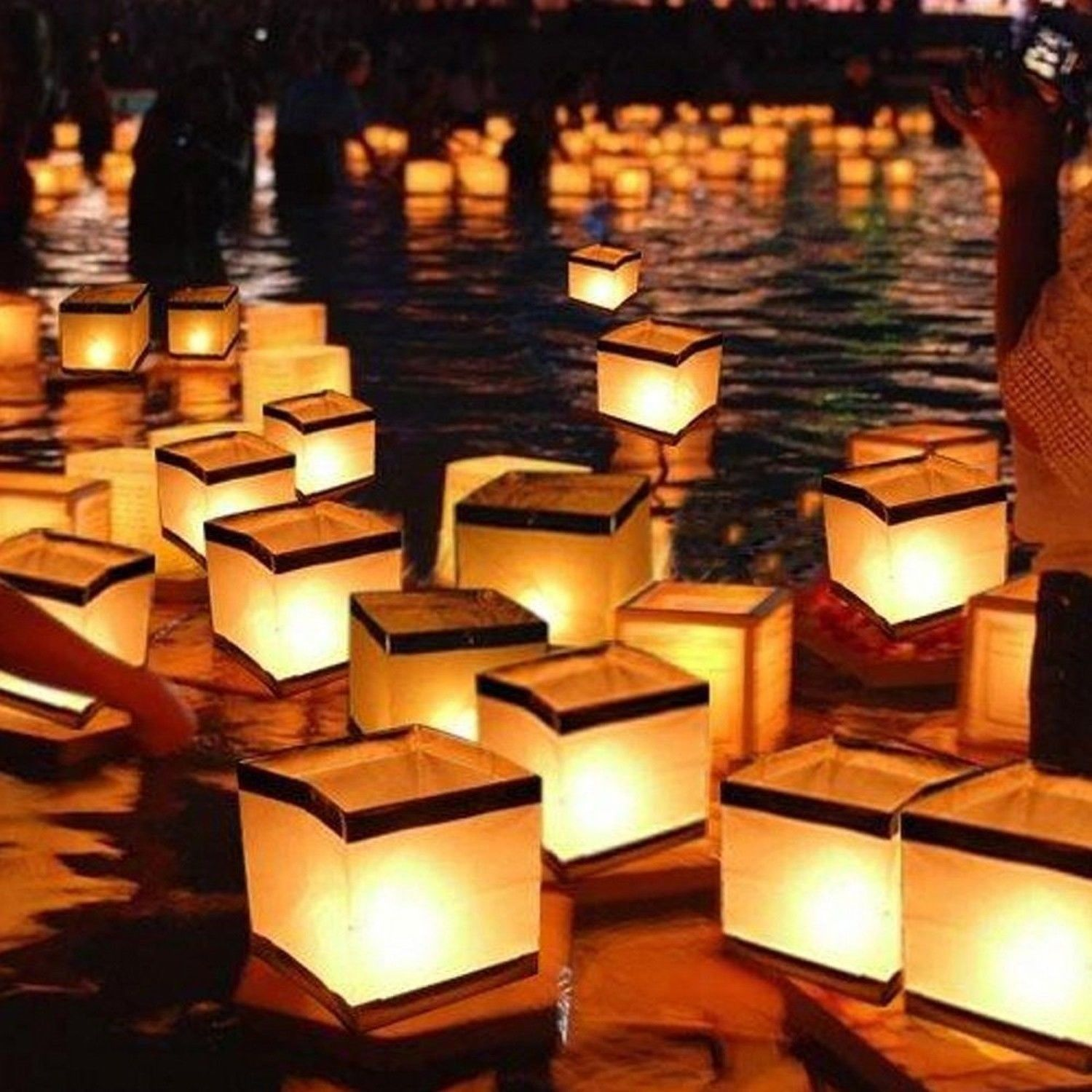 Homecube Outdoor Water Floating Candle Lanterns Biodegradable White Chinese P Floating Water Lanterns Candle Lanterns Floating Paper Lanterns