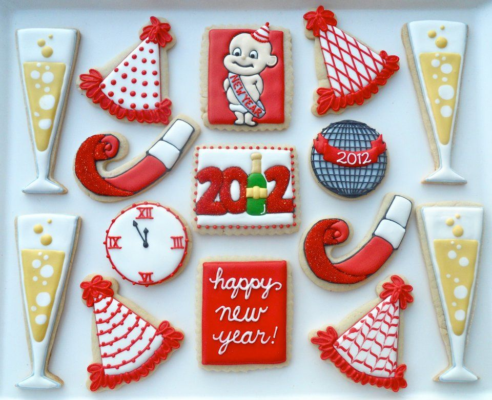 New Year's Eve Cookies | decorated cookies | Pinterest ...