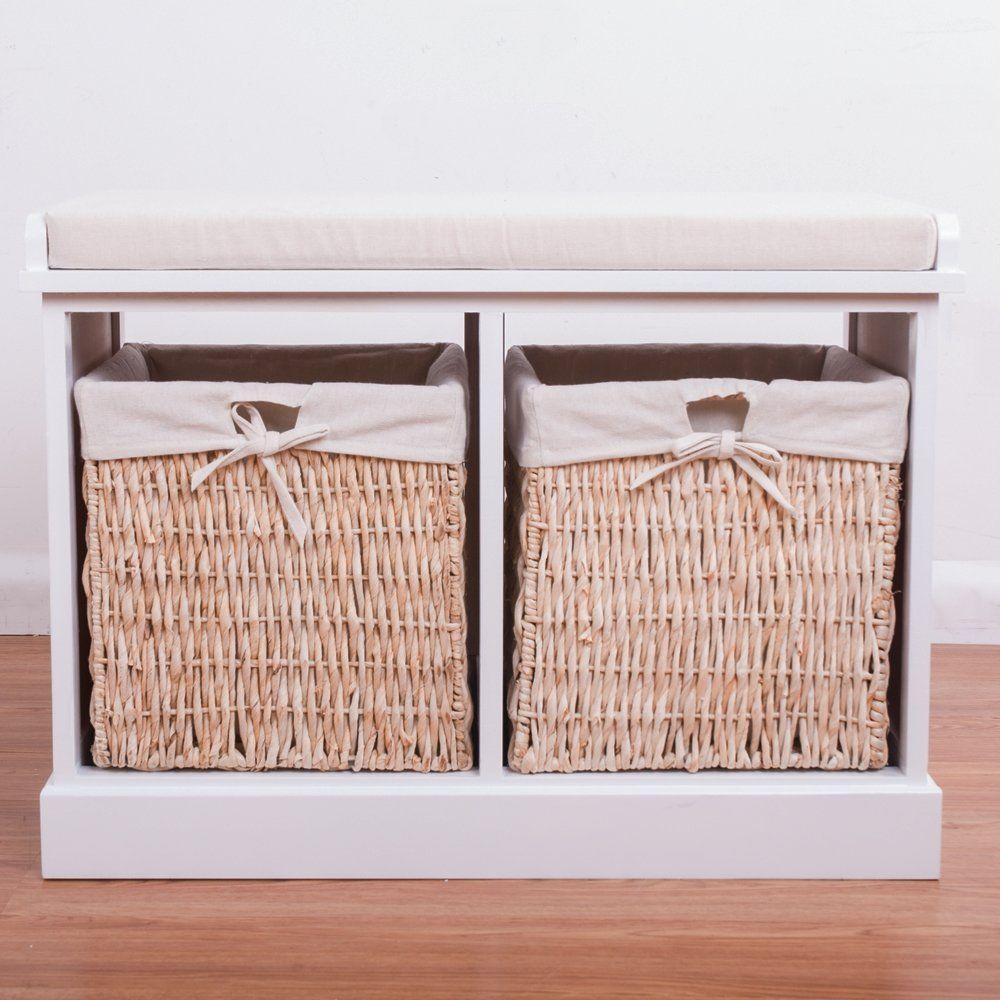 BTM 2 Seater Wooden Storage Bench Seagrass Wicker Storage Baskets In White  2 Drawers Cabinet Farmhouse