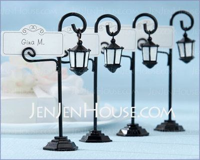 Practical Favors - $9.19 - Street Lamp Placecard Holders (Set of 4)  (051024165) http://jenjenhouse.com/Street-Lamp-Placecard-Holders-Set-Of-4-051024165-g24165
