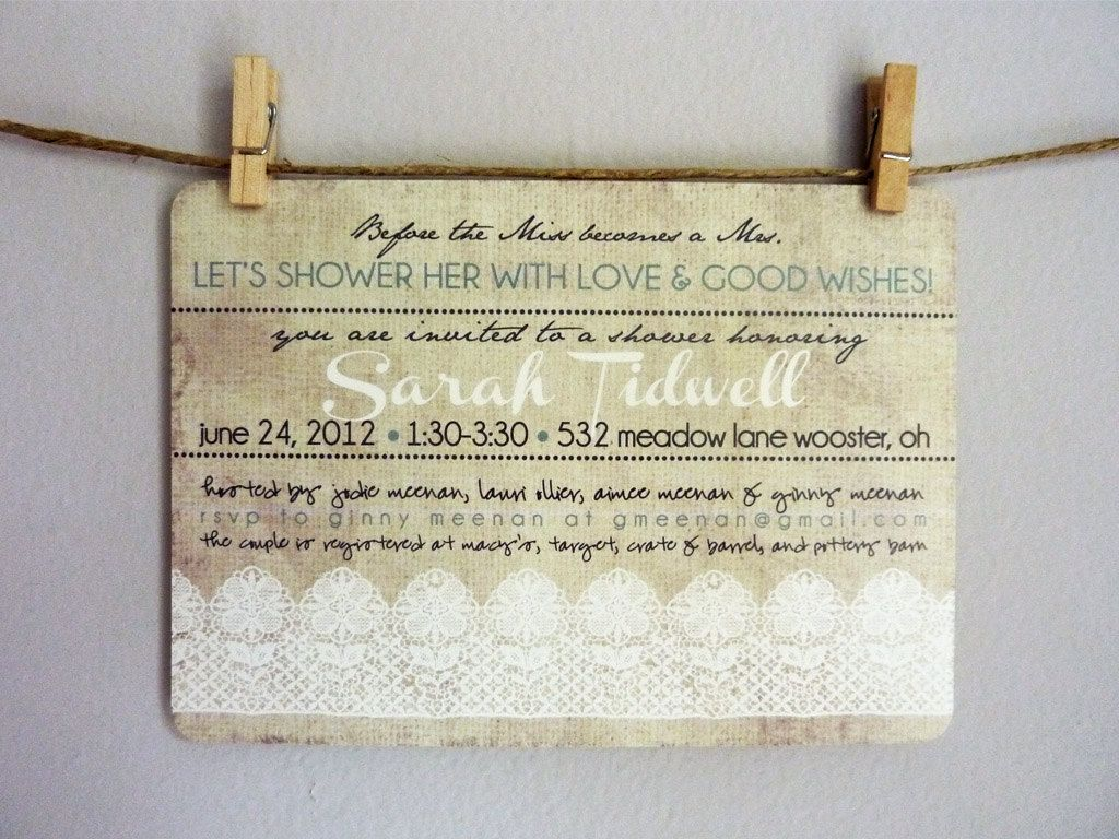 Bridal Shower Printable Invitations - Linen & Lace - Burlap/White ...