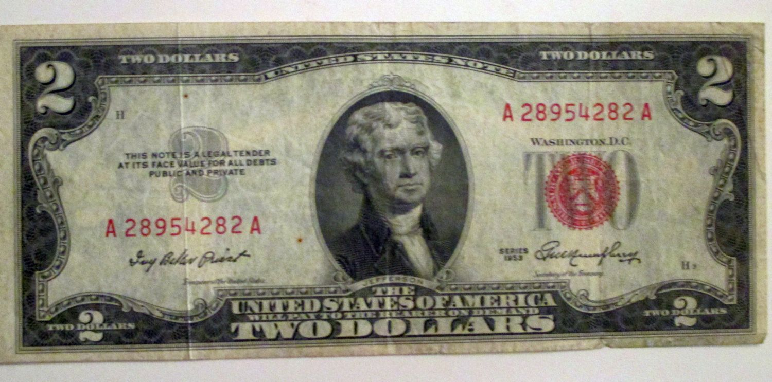 1953 Two Dollar Bill United States Note Red Seal Circulated Us Currency By Riverripples On Etsy