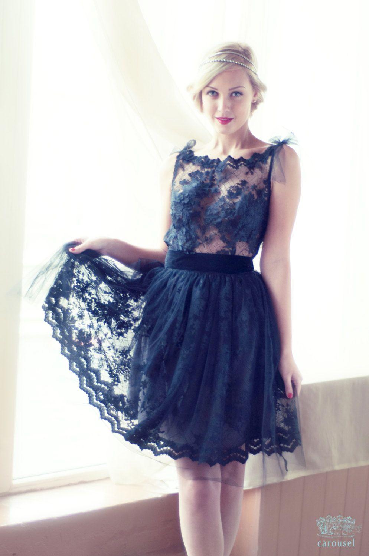 Black Lace Evening Dress Open Back Dress By
