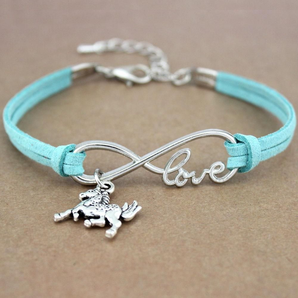 """Lovely Horseshoe Bracelets For Horse Lovers. For someone who loves jewelry, wearing bracelets is a top choice. And when it comes to the bracelet, our horseshoe bracelets are loved by everyone. The rope-type chain is made of suede, and the main silver color shape is from Zinc Alloy.When you love horses from your heart, every horse sign becomes special for you. So these bracelets have the cute touch of a horse in them including the word """"LOVE"""". You can easily adjust the size because of its 4cm ext"""