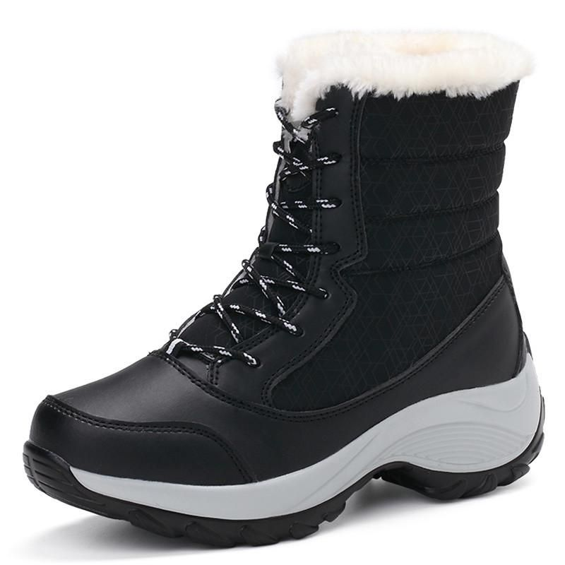 98b7479816 Snow Winter Warm Ankle Boots Thick Bottom Platform Waterproof For Women  Thick Fur Cotton Size 35-41