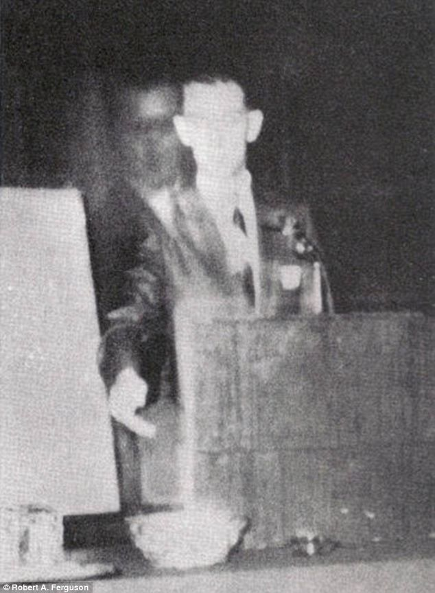 Robert A. Ferguson, Author Of Physhic Telemetry. In This Photo He Was Speaking In Los Angeles, California, On November 16th, 1968. He Believed That His Brother, Who Died In 1944 During World War 2 Was Standing Behind Him During His Speech.