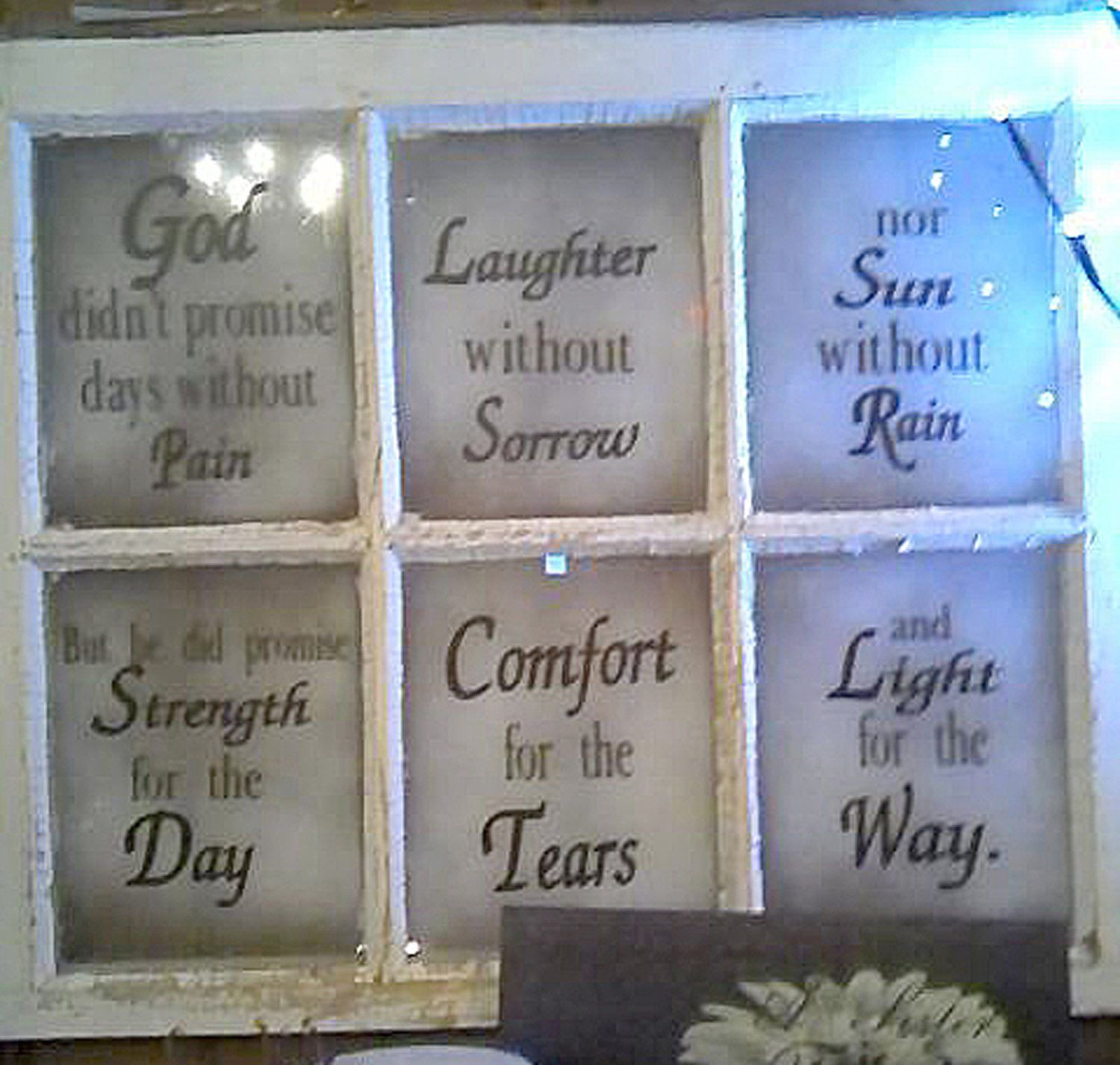 6 pane window ideas   pane antique window with saying or decal only  window  pinterest