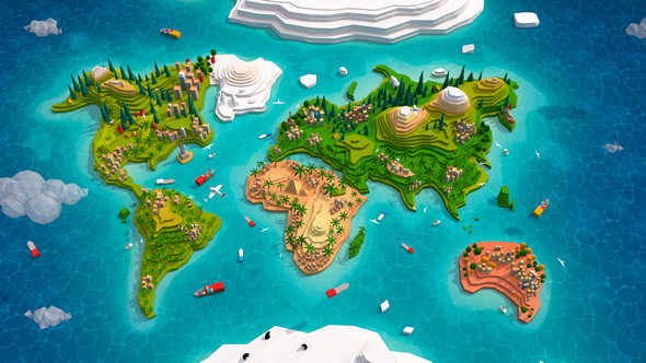 World Map 3d Model.Cartoon Low Poly Earth World Map 2 0 Earth 3d Models In 2019 Low