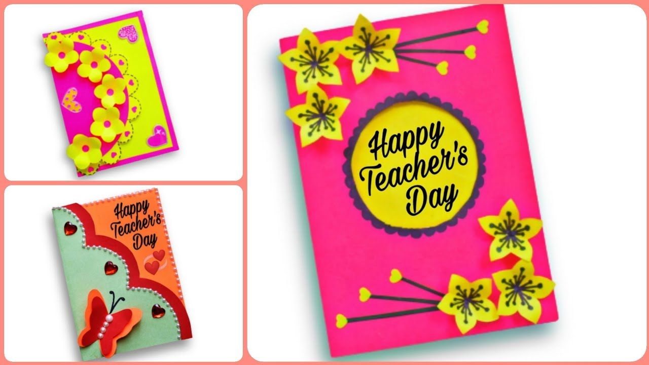 3 easy and beautiful teacher's day greeting card  diy