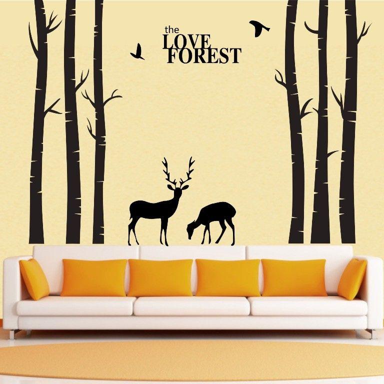 Vinyl Tree Wall Decals Giant Tree Love Forest Deer Bird Wall ...