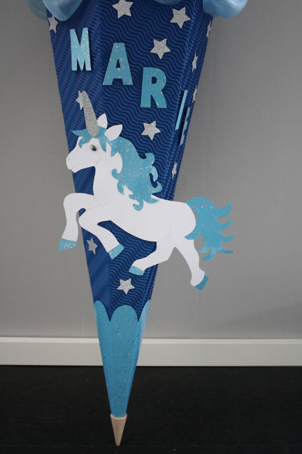 Schultuten Schultute Einhorn Star Blau Handarbeit Ein Designerstuck Von Bastel Shop Bei Daw Schultute Basteln Vorlage Schultute Einhorn Schultute Basteln