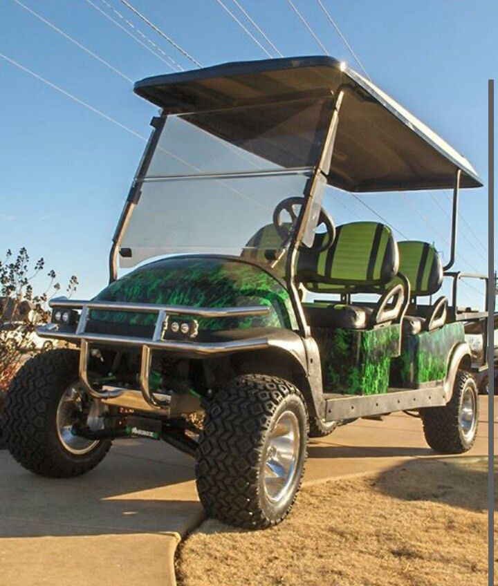 """Wild Fire Green Golf Cart Dip. All Put Back Together. 6"""" Lift 22 In Tires, 150 Green LED Lights"""