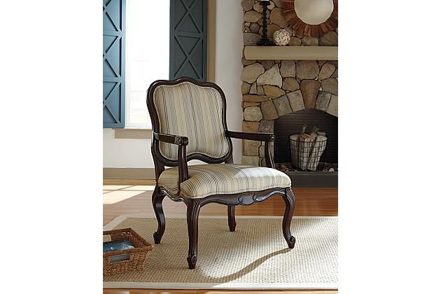 Accent Chair With Curved Wooden Legs And Armrests With A