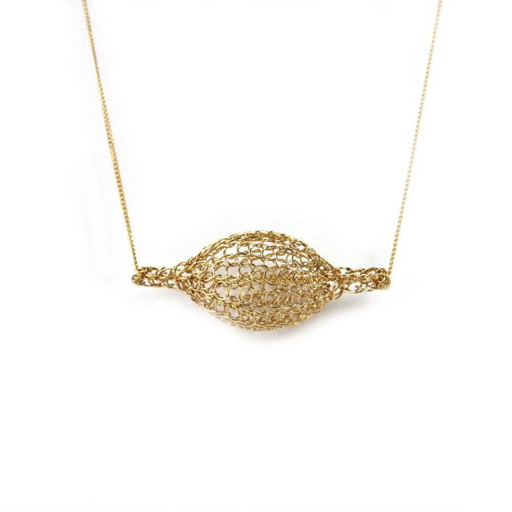 Crocheted gold filled Bubble pod necklace , unique handmade wire ...