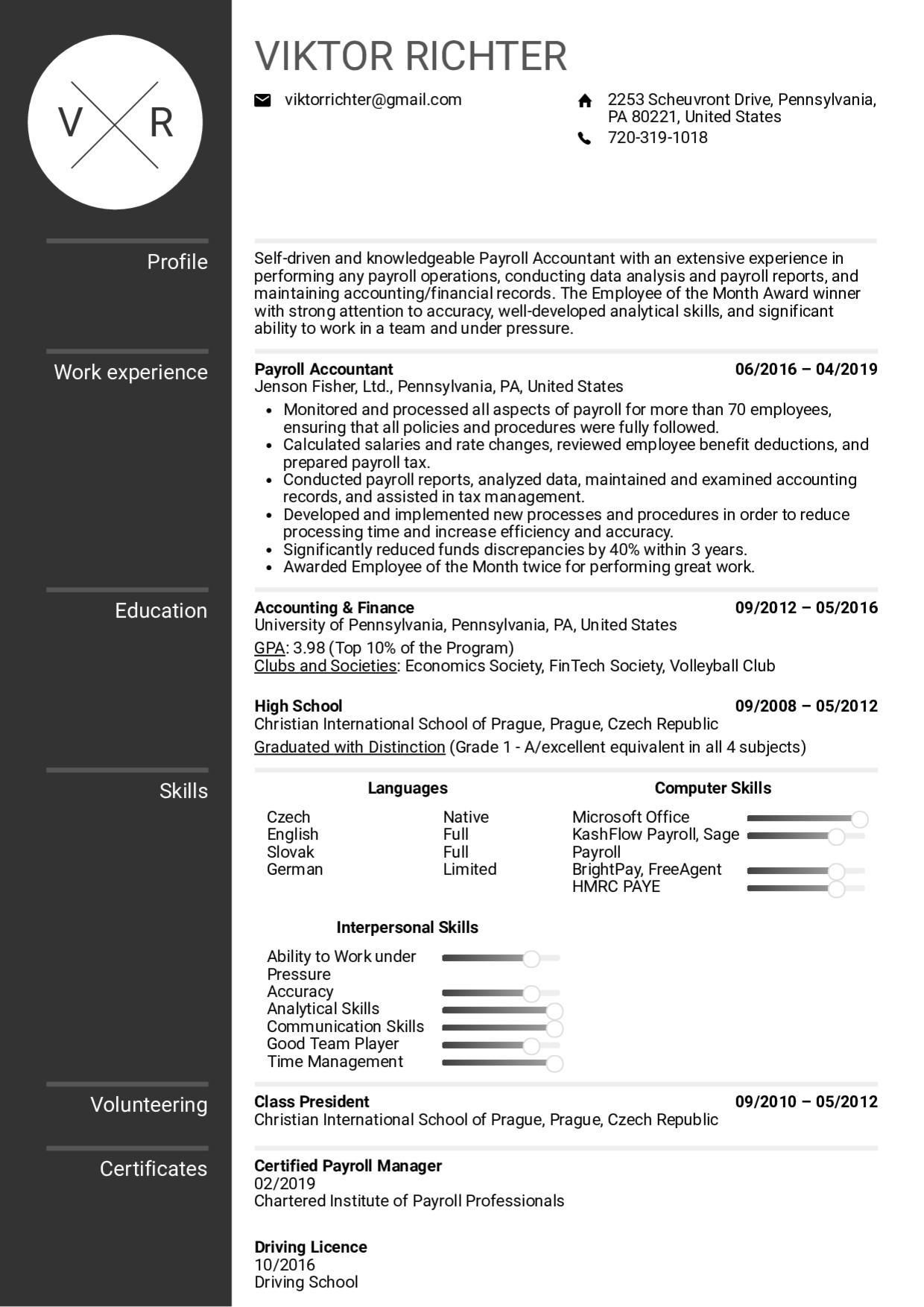 Payroll Accountant Resume Check more at http