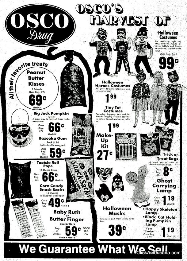 Trick or treat! See some of the vintage Halloween masks & costumes you could get at the drugstore back in the '60s & '70s - Candy costumes, Vintage halloween, Retro halloween - 웹