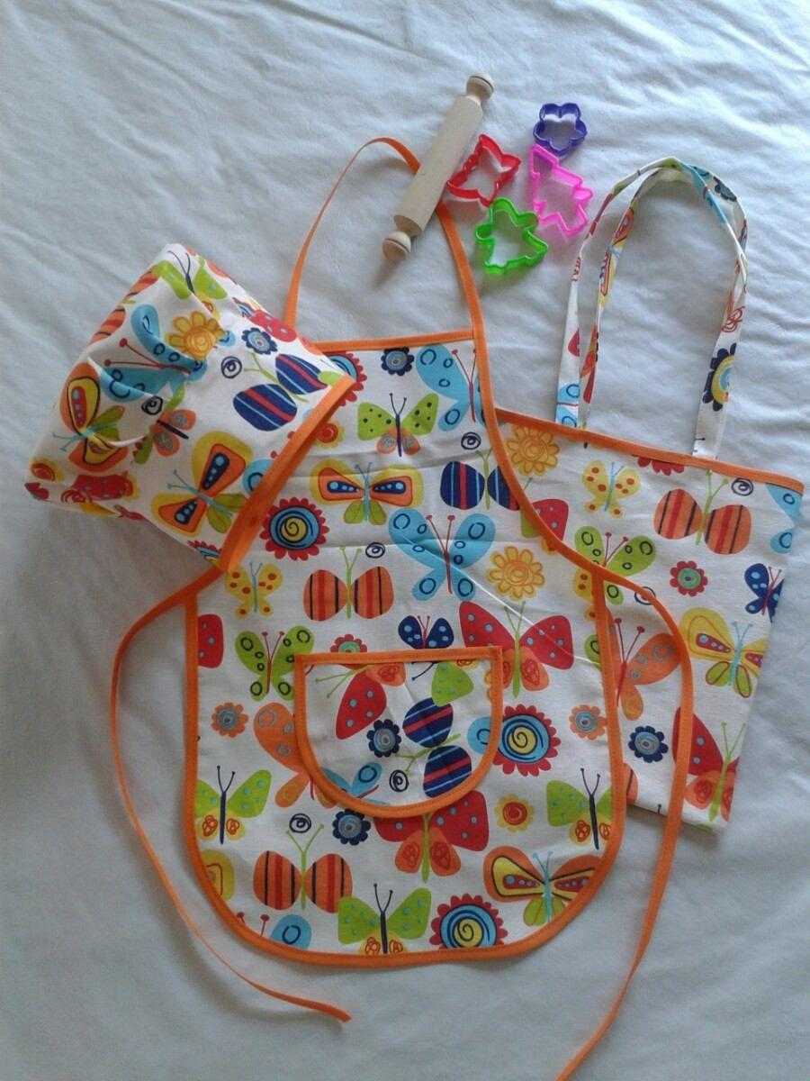Delantales Infantiles De Cocina | Kit De Cocinerito Delantal De Cocina Infantil Con Gorro Delantales