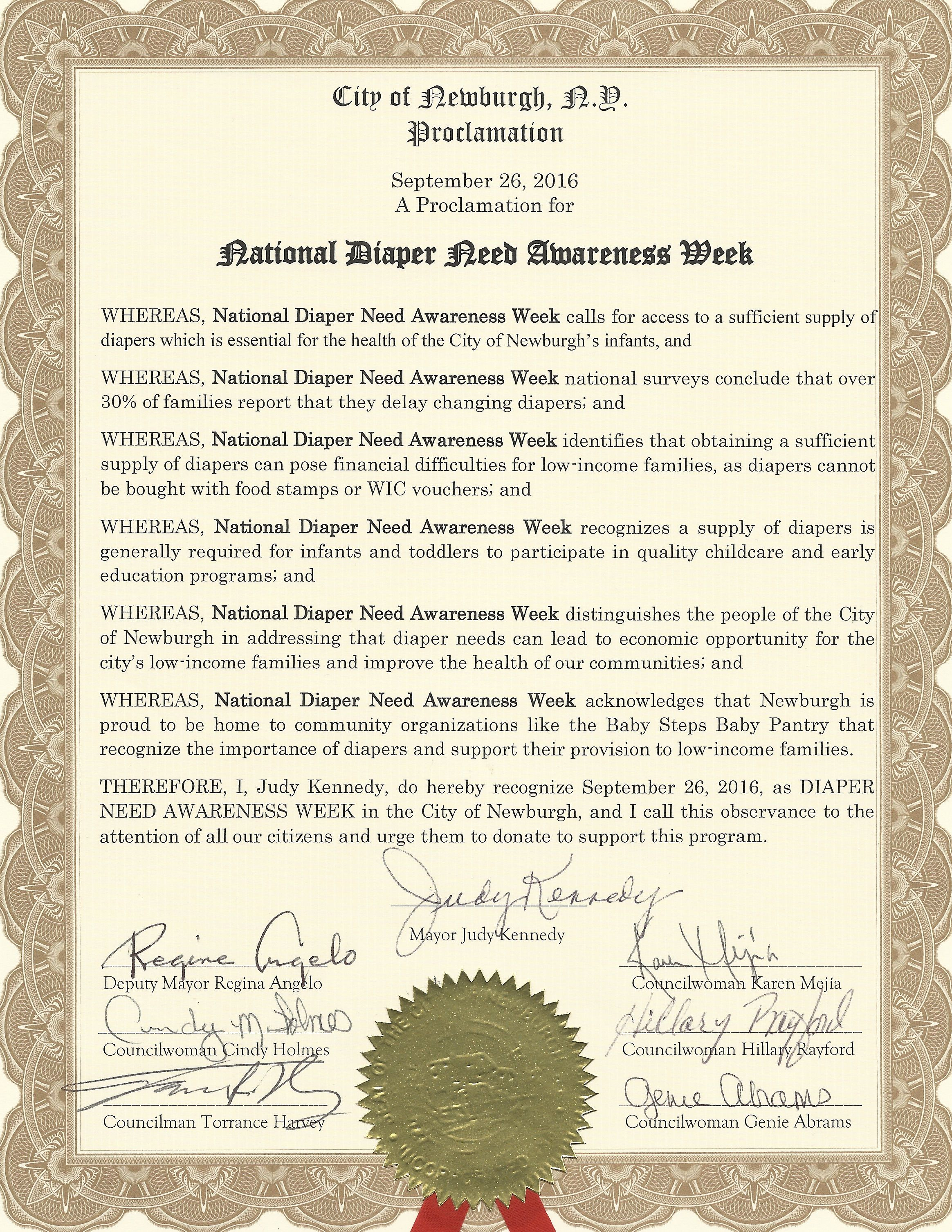 NEWBURGH, NY-Mayoral proclamation recognizing Diaper Need Awareness Week (Sep. 26-Oct. 2, 2016) #DiaperNeed Diaperneed.org