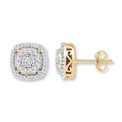 Cushion Shaped Diamond Halos Surround A Round Diamond In These Classy Yellow Gold Stud Earring Mens Diamond Earrings Gold Earrings Studs Diamond Earrings Studs