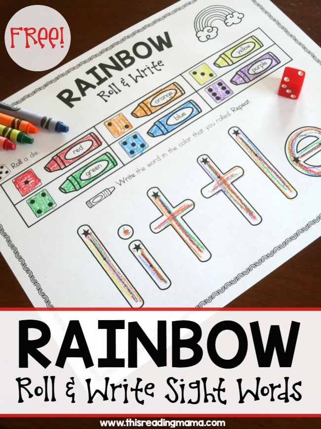 Rainbow write roll and write sight words rainbow writing for Rainbow writing spelling words template