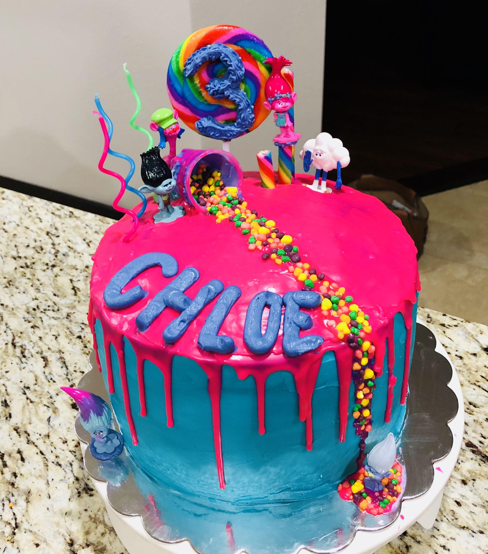 First drip cake trolls themed drip cakes