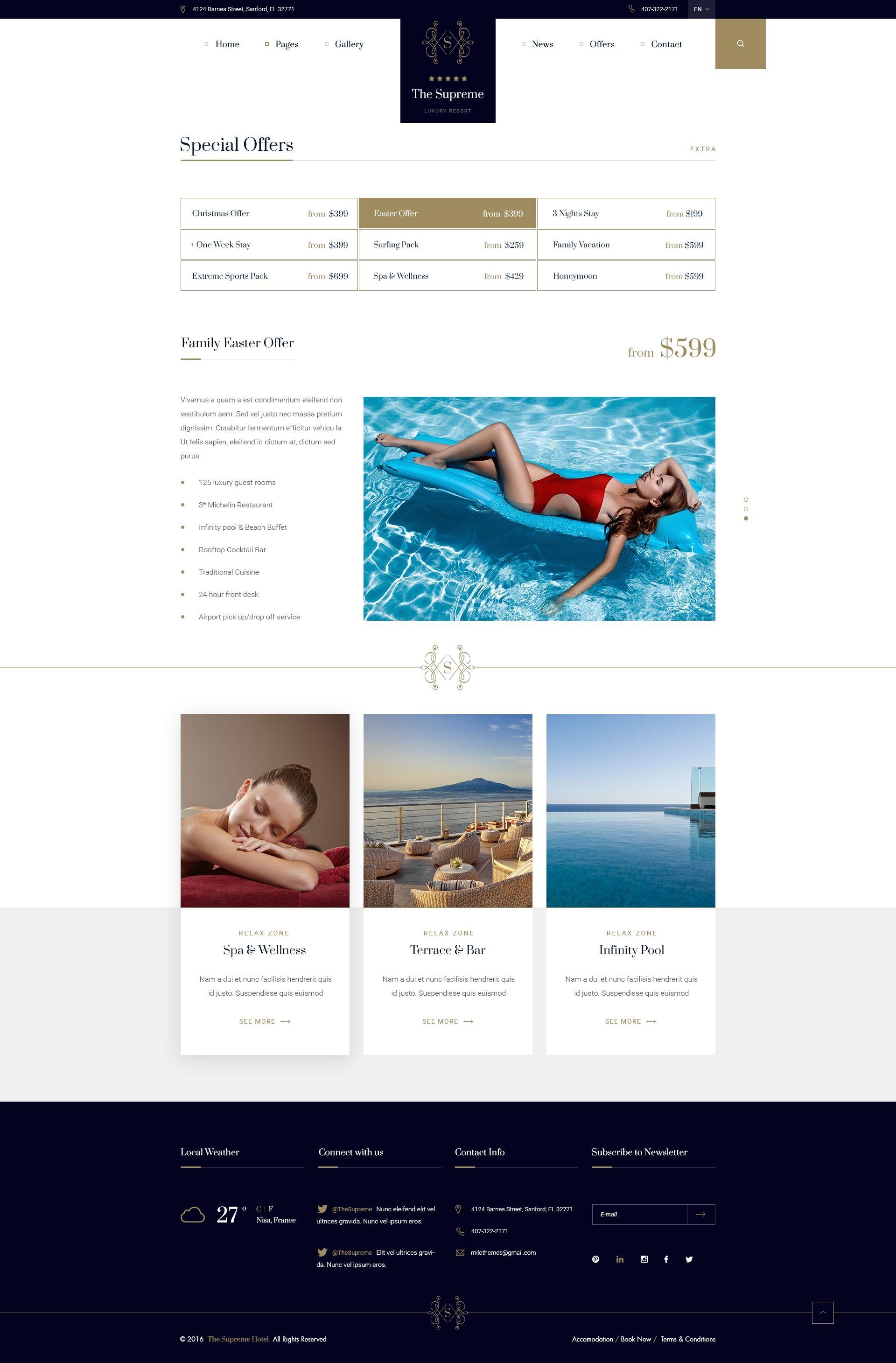 The Supreme Luxury Hotel Resort PSD Template Luxury