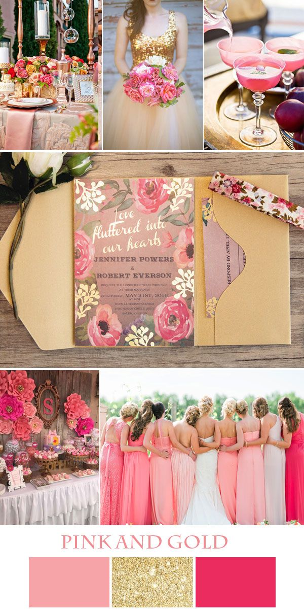 colorful pink and gold wedding ideas with invitations