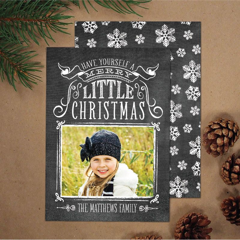 Photo Christmas Card, Hand Lettering Holiday Card (set of 25 ...