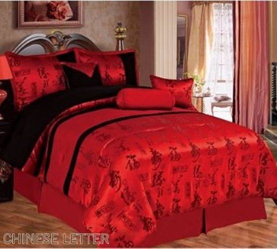 7pc Queen Red Black Chinese Character Comforter Set B Starting At