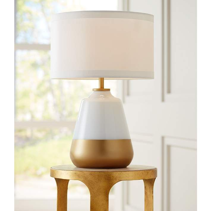 Possini Euro Alain White Gold Glass Table Lamp   #10C11 | Lamps Plus