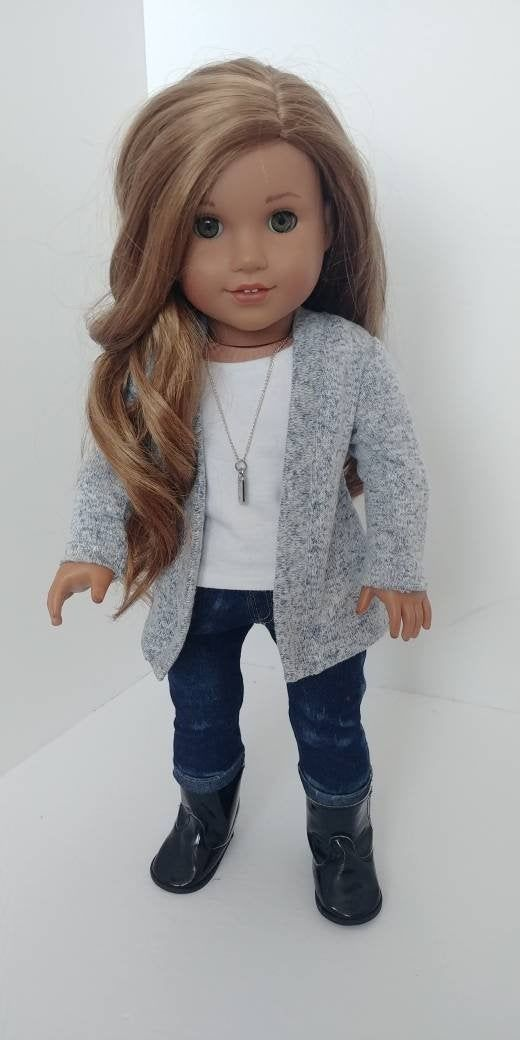 Modern 18 inch doll clothing. Fits like American girl doll clothes. 18 inch doll clothes. Cardigan sweater #18inchdollsandclothes