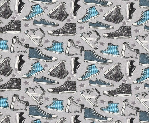 official photos 84903 db2db Kinderstoffe - Chucks, Sneaker Turnschuhe Jersey blau grau ...
