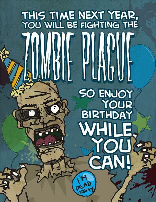 Zombie Plague Birthday Card With Envelope Happy Birthday Halloween Birthday Cards Happy Birthday Meme