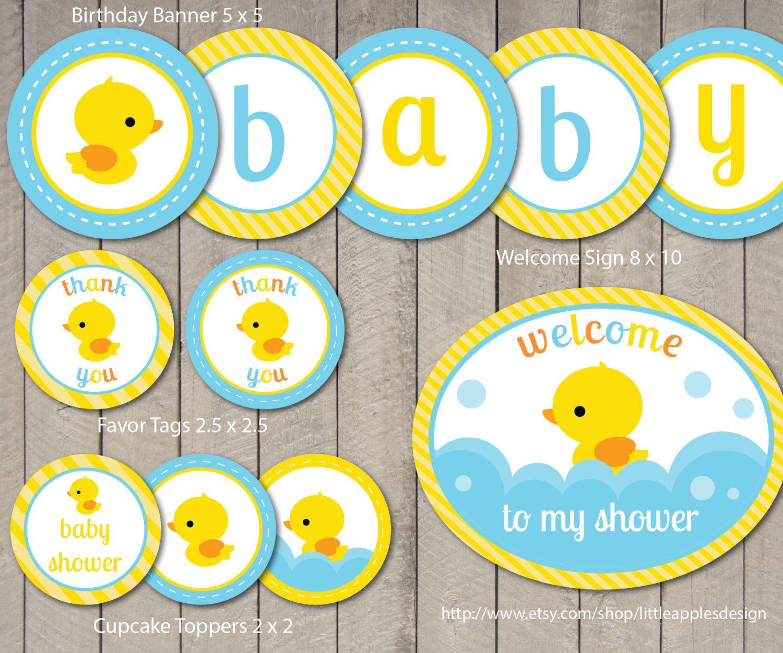 Rubber Duck Baby Shower Package / Rubber by LittleApplesDesign ...