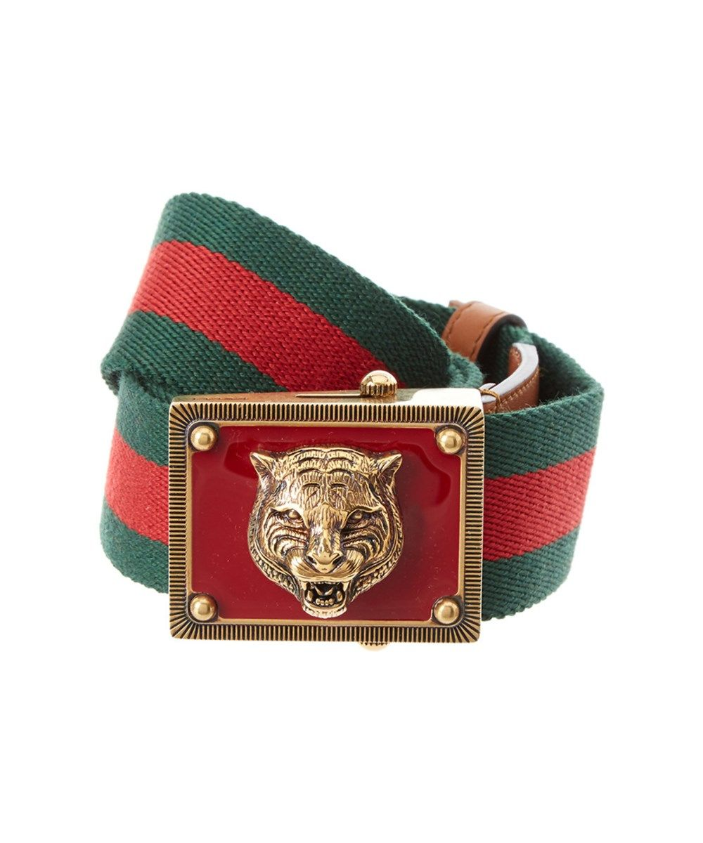 e9c8d592a9ae GUCCI Gucci Canvas Web Belt With Feline Head .  gucci  belts
