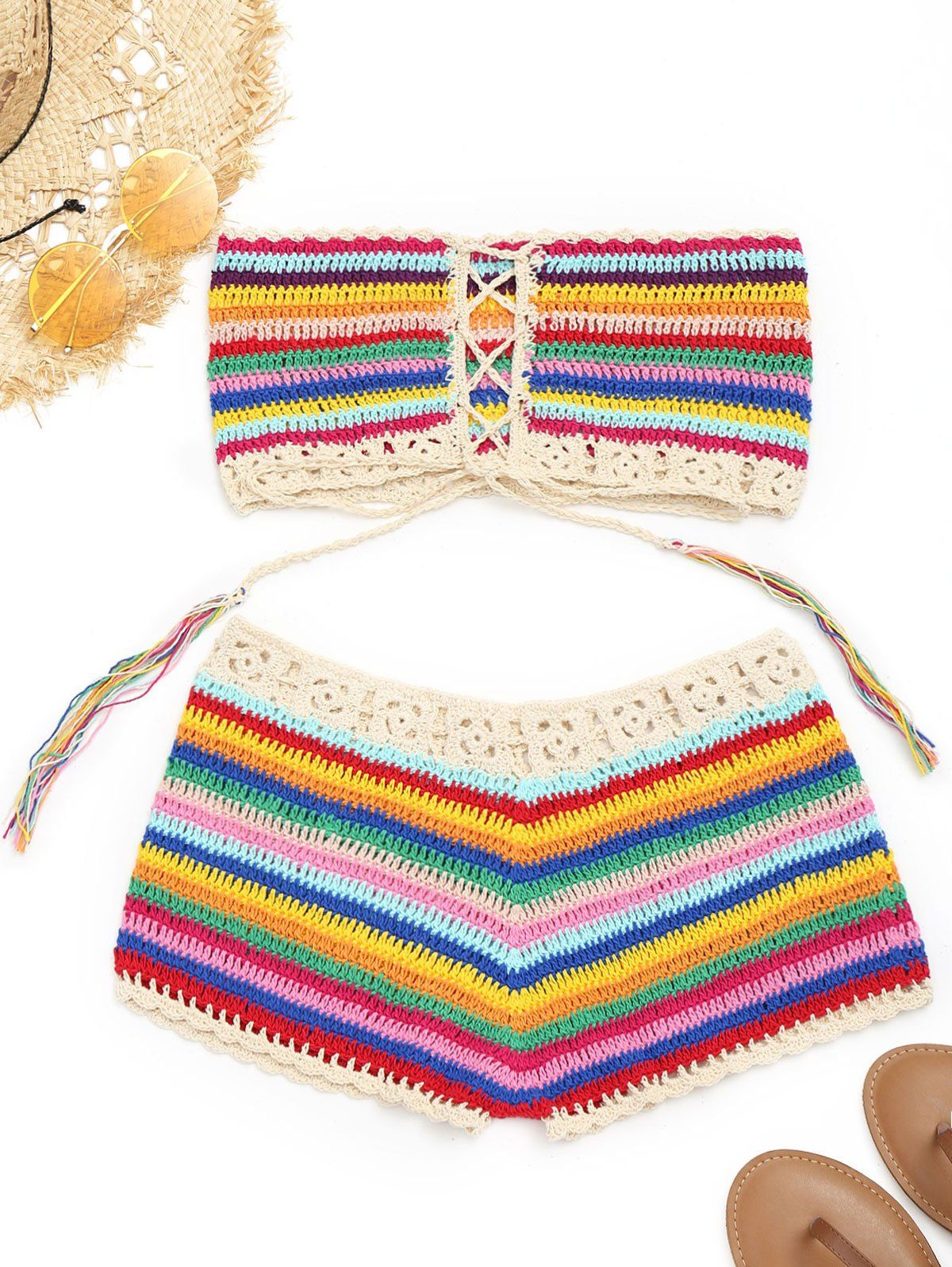 591b8f9214 Colorful Strapless Crochet Top And Shorts Women Beach Cover Up Lace Up  Bikini Stripe Cover Up Summer Crochet Beachwear