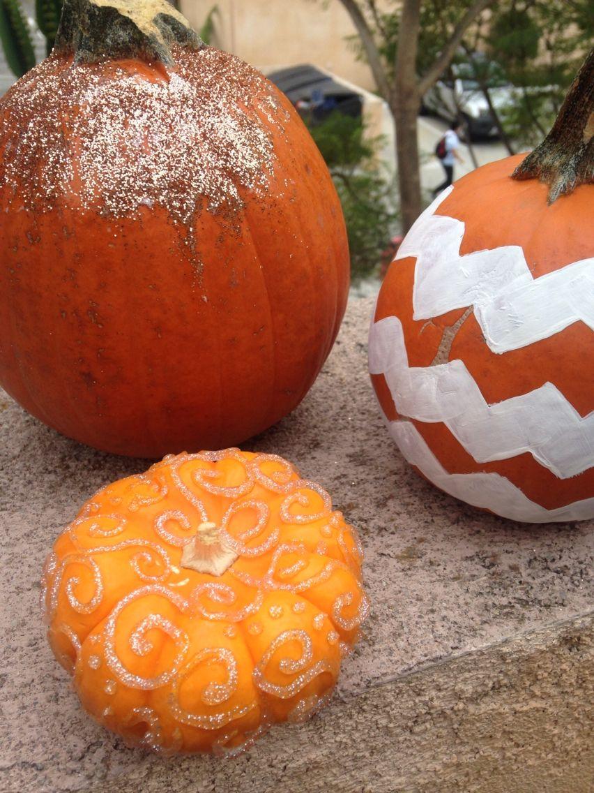 Glitter and chevron DIY pumpkins for fall