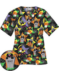UA Scaredy Cat Black Print Scrub Top, Style # H400SYC #uniformadvantage, #scrubs, #fashion, #thanksgiving