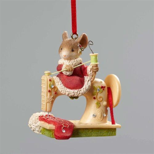Enesco-Heart-of-Christmas-Mouse-Sewing-Machine-Ornament-50-FreeShipUS
