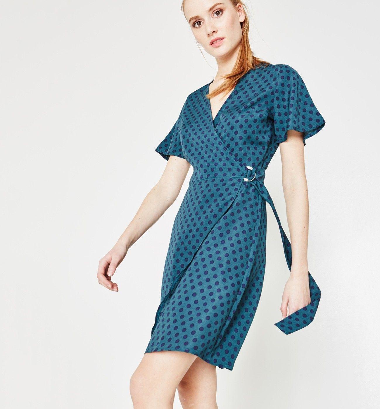 56a12d89f28c2 Robe portefeuille Femme - Imprimé vert émeraude - Robes - Femme - Promod