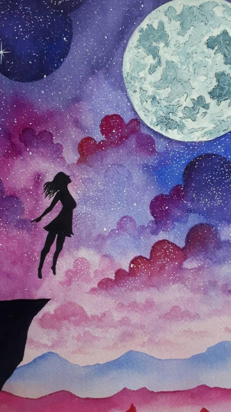 Flying Girl Galaxy Watercolor Painting Original Art Girl Etsy In 2021 Watercolor Galaxy Art Painting Galaxy Drawings